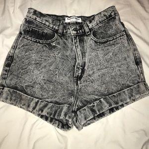Dark acid wash shorts